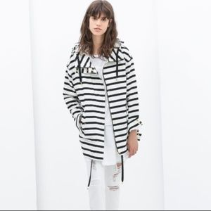 Zara Striped Parka Long Sleeve Hooded Jacket